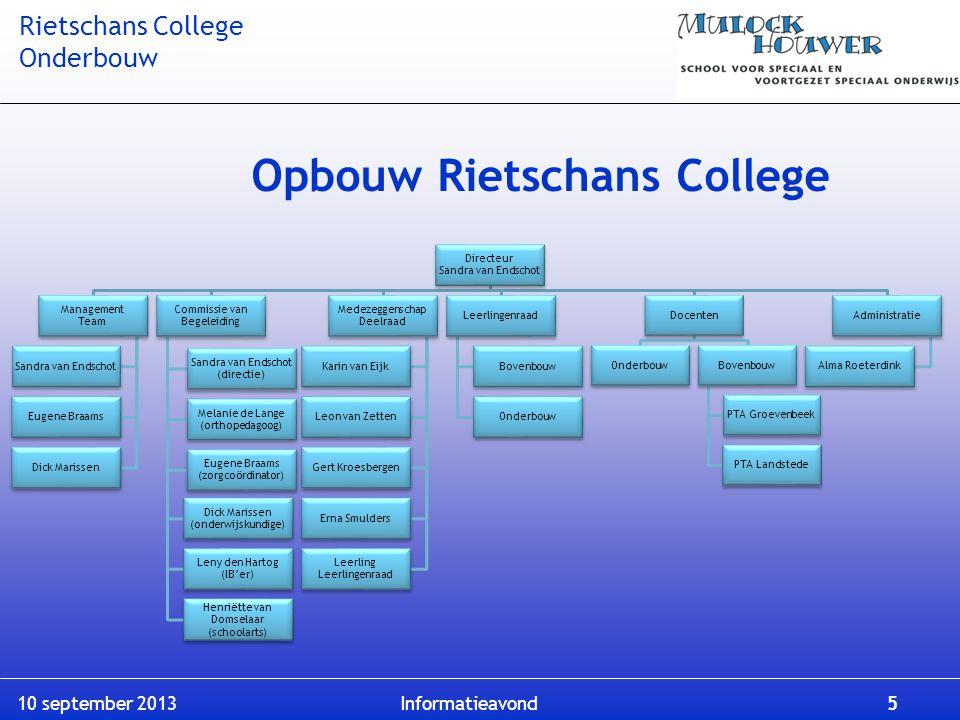 Rietschans College Onderbouw 10 september 2013 Informatieavond 5 Opbouw Rietschans College Directeur Sandra van Endschot Management Team Sandra van En