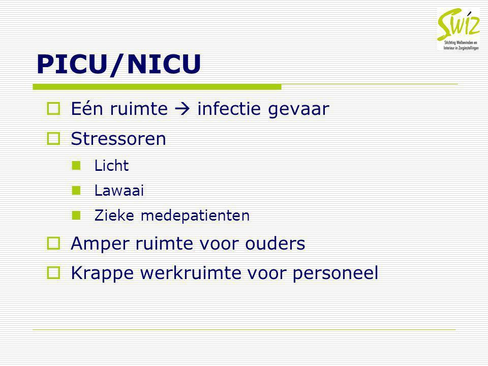PICU/NICU  Eén ruimte  infectie gevaar  Stressoren Licht Lawaai Zieke medepatienten  Amper ruimte voor ouders  Krappe werkruimte voor personeel