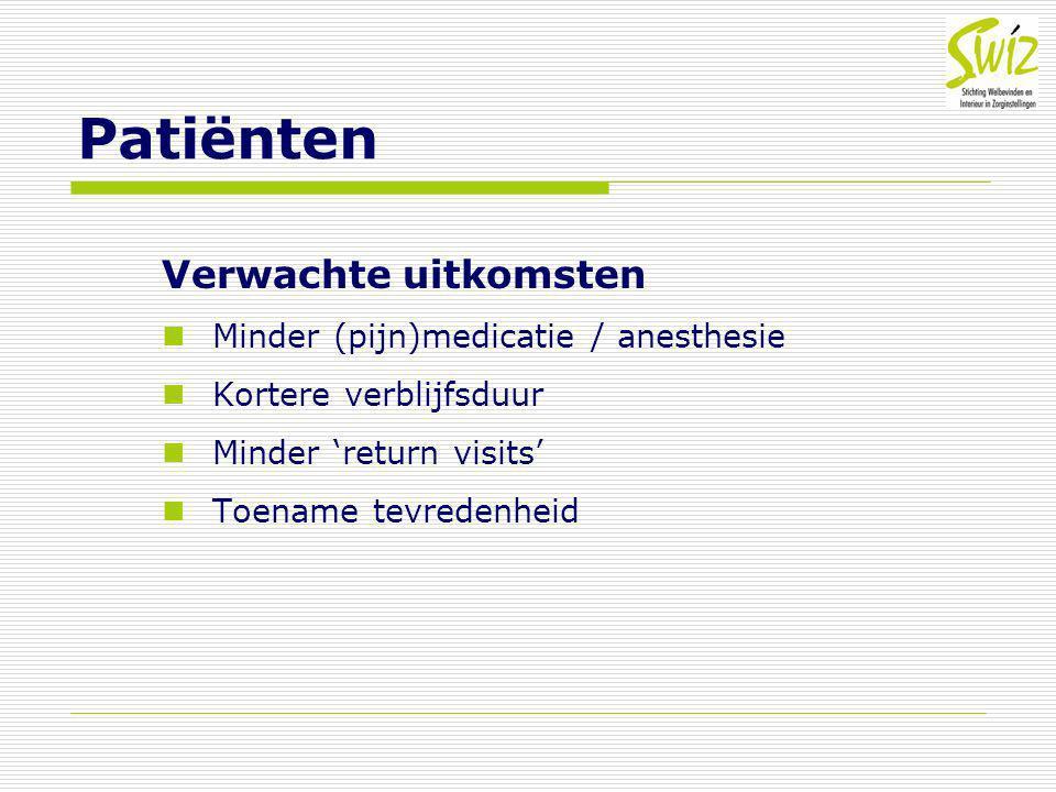 Patiënten Verwachte uitkomsten Minder (pijn)medicatie / anesthesie Kortere verblijfsduur Minder 'return visits' Toename tevredenheid