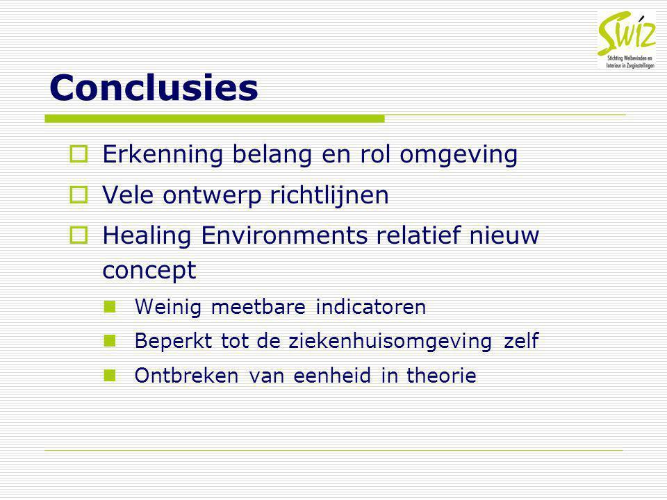 Conclusies  Erkenning belang en rol omgeving  Vele ontwerp richtlijnen  Healing Environments relatief nieuw concept Weinig meetbare indicatoren Bep