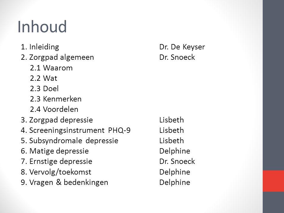 Inhoud 1. Inleiding Dr. De Keyser 2. Zorgpad algemeenDr. Snoeck 2.1 Waarom 2.2 Wat 2.3 Doel 2.3 Kenmerken 2.4 Voordelen 3. Zorgpad depressieLisbeth 4.