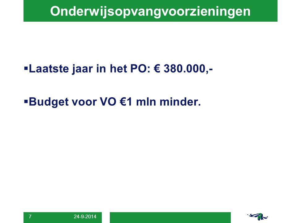 Onderwijsopvangvoorzieningen  Laatste jaar in het PO: € 380.000,-  Budget voor VO €1 mln minder.