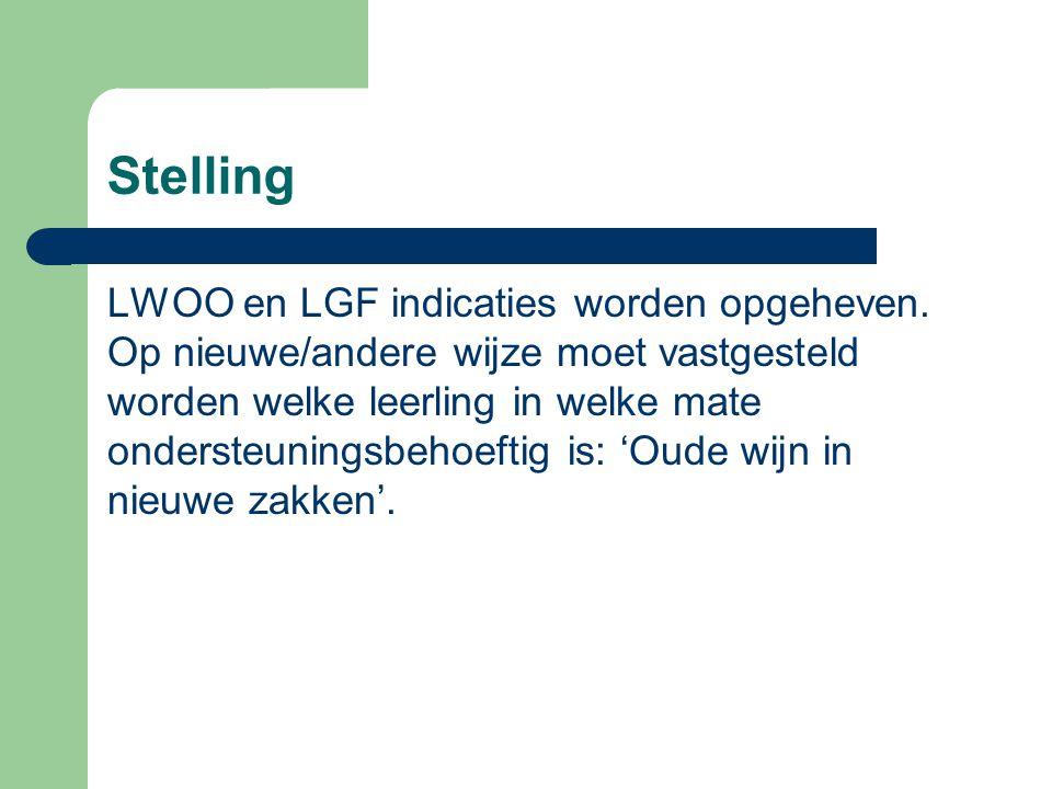 Stelling LWOO en LGF indicaties worden opgeheven.
