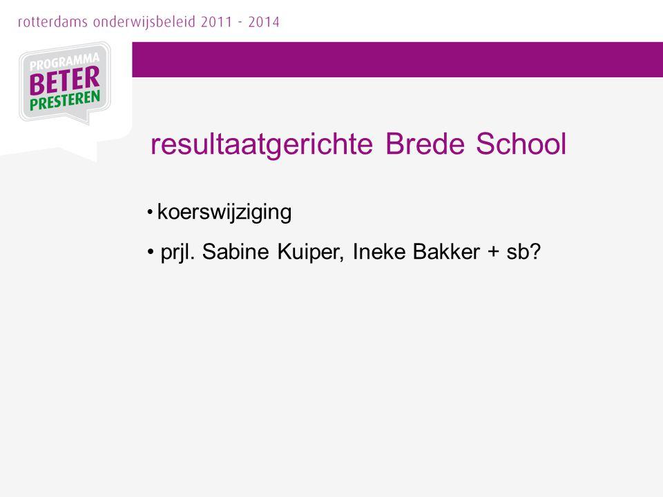 koerswijziging prjl. Sabine Kuiper, Ineke Bakker + sb? resultaatgerichte Brede School