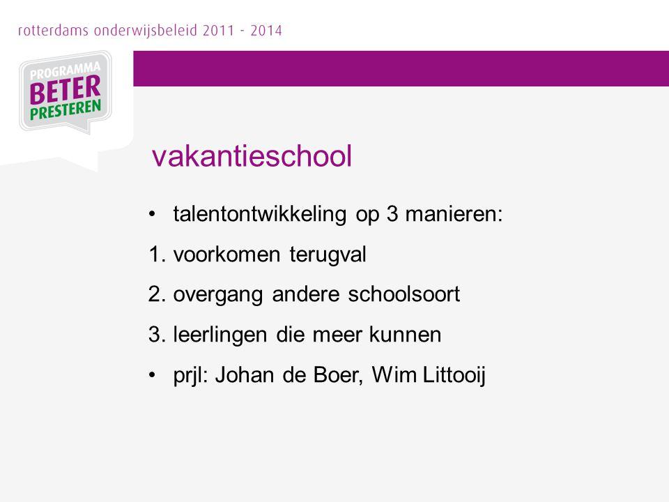 talentontwikkeling op 3 manieren: 1.voorkomen terugval 2.overgang andere schoolsoort 3.leerlingen die meer kunnen prjl: Johan de Boer, Wim Littooij va