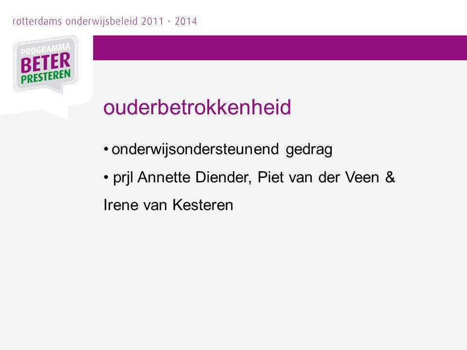 onderwijsondersteunend gedrag prjl Annette Diender, Piet van der Veen & Irene van Kesteren ouderbetrokkenheid