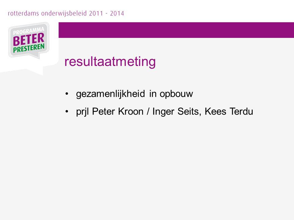 gezamenlijkheid in opbouw prjl Peter Kroon / Inger Seits, Kees Terdu resultaatmeting