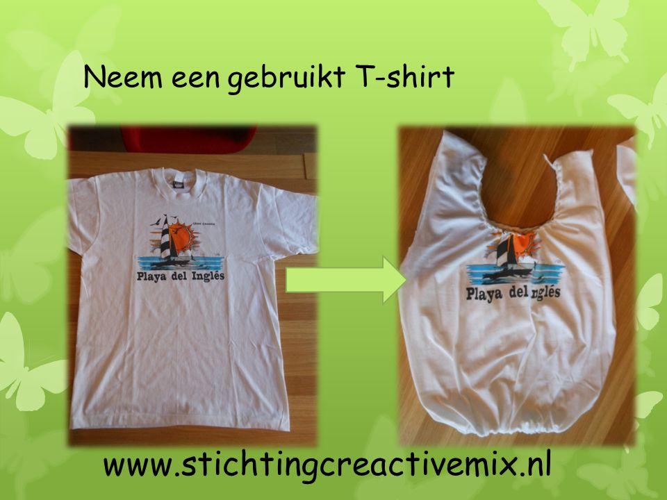 Knip voorzichtig de mouwen eruit, net op de naailijn www.stichtingcreativemix.nl