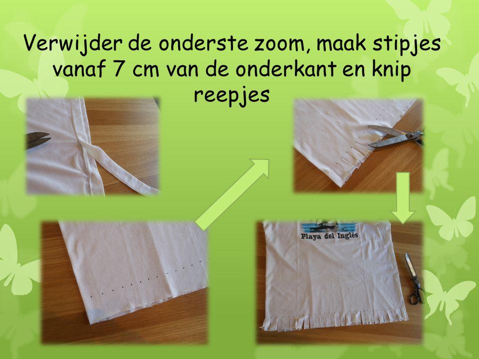 Verwijder de onderste zoom, maak stipjes vanaf 7 cm van de onderkant en knip reepjes