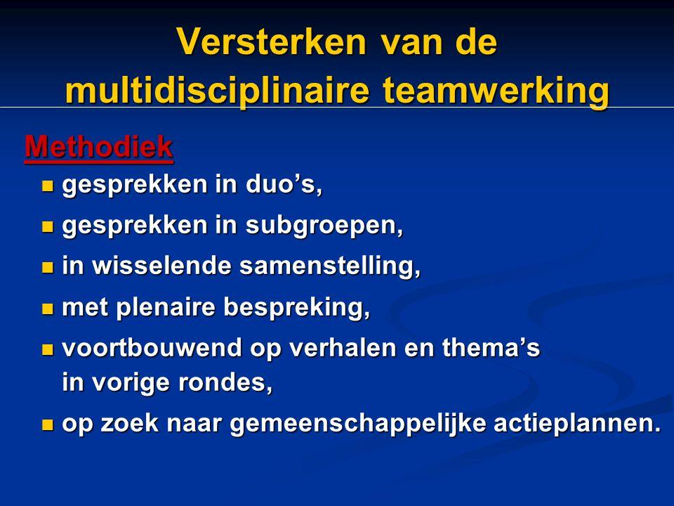 Versterken van de multidisciplinaire teamwerking Methodiek Methodiek gesprekken in duo's, gesprekken in duo's, gesprekken in subgroepen, gesprekken in