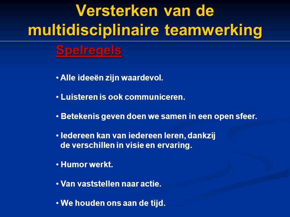Versterken van de multidisciplinaire teamwerking Spelregels Alle ideeën zijn waardevol. Luisteren is ook communiceren. Betekenis geven doen we samen i