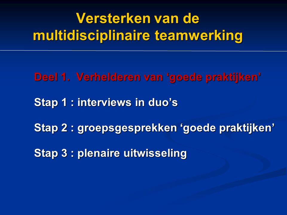 Versterken van de multidisciplinaire teamwerking Deel 1. Verhelderen van 'goede praktijken' Stap 1 : interviews in duo's Stap 2 : groepsgesprekken 'go