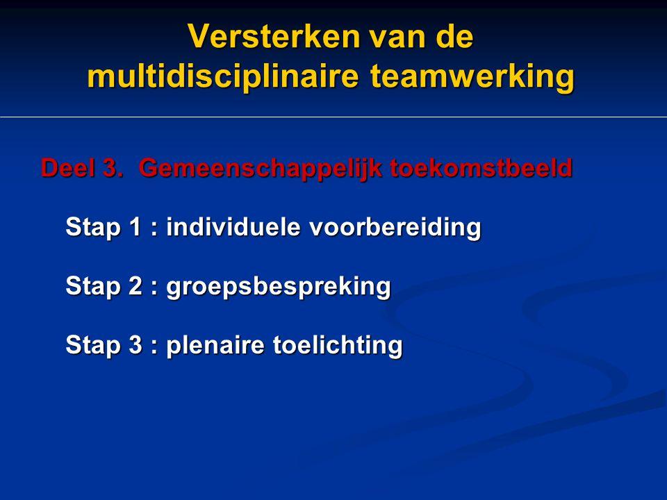 Versterken van de multidisciplinaire teamwerking Deel 3. Gemeenschappelijk toekomstbeeld Stap 1 : individuele voorbereiding Stap 2 : groepsbespreking