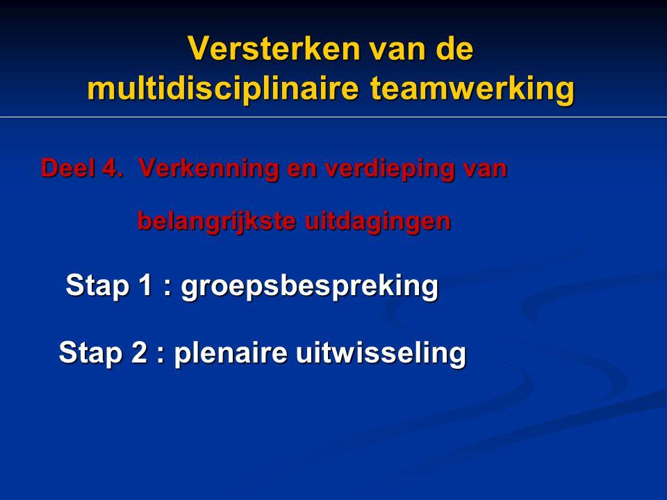 Versterken van de multidisciplinaire teamwerking Deel 4. Verkenning en verdieping van belangrijkste uitdagingen Stap 1 : groepsbespreking Stap 2 : ple