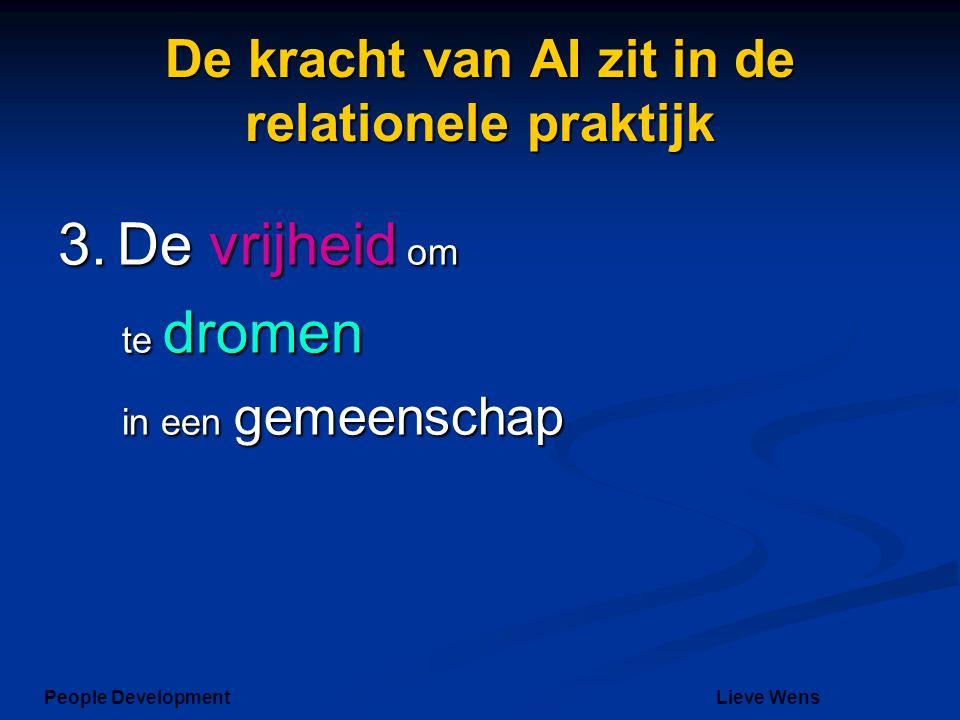 De kracht van AI zit in de relationele praktijk 3. De vrijheid om te dromen in een gemeenschap People DevelopmentLieve Wens