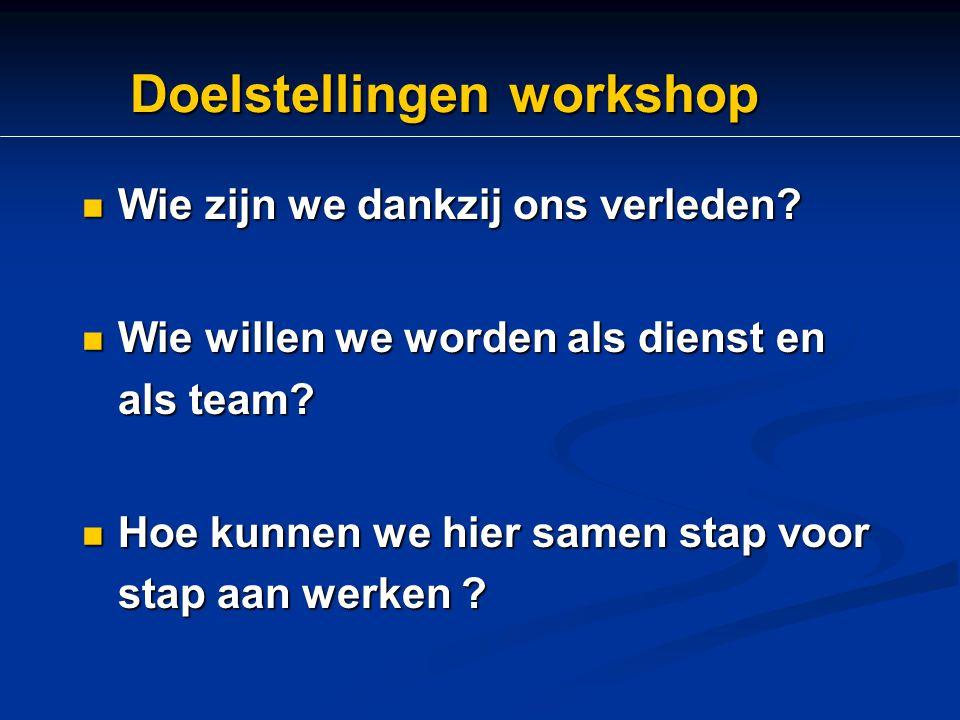 Doelstellingen workshop Wie zijn we dankzij ons verleden? Wie zijn we dankzij ons verleden? Wie willen we worden als dienst en als team? Wie willen we