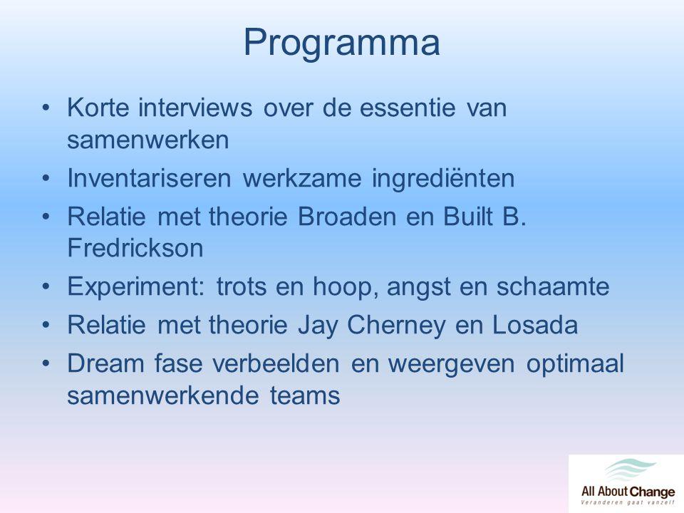 Programma Korte interviews over de essentie van samenwerken Inventariseren werkzame ingrediënten Relatie met theorie Broaden en Built B. Fredrickson E