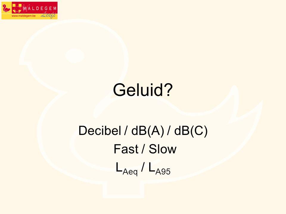 Geluid? Decibel / dB(A) / dB(C) Fast / Slow L Aeq / L A95