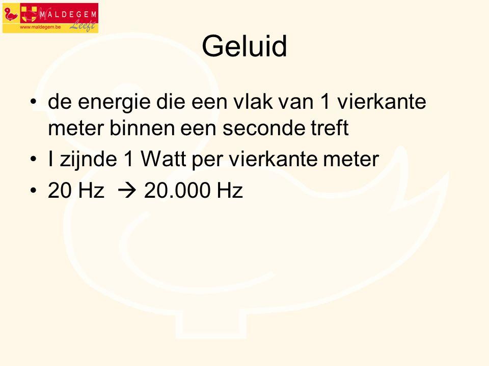 Geluid de energie die een vlak van 1 vierkante meter binnen een seconde treft I zijnde 1 Watt per vierkante meter 20 Hz  20.000 Hz
