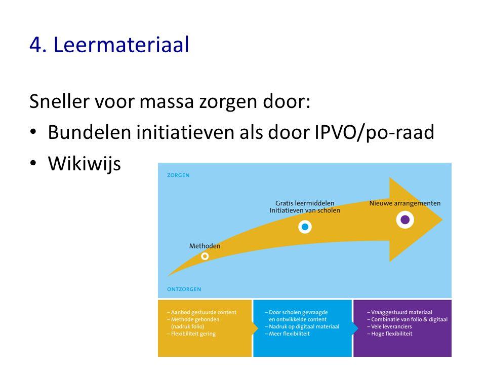 4. Leermateriaal Sneller voor massa zorgen door: Bundelen initiatieven als door IPVO/po-raad Wikiwijs