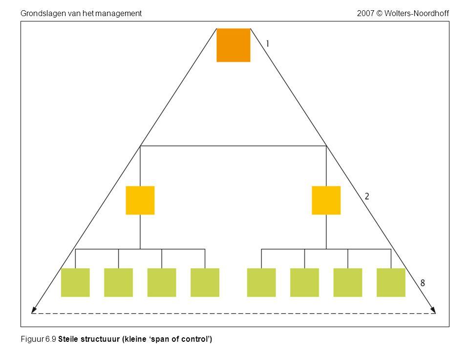 2007 © Wolters-NoordhoffGrondslagen van het management Figuur 6.9 Steile structuuur (kleine 'span of control')