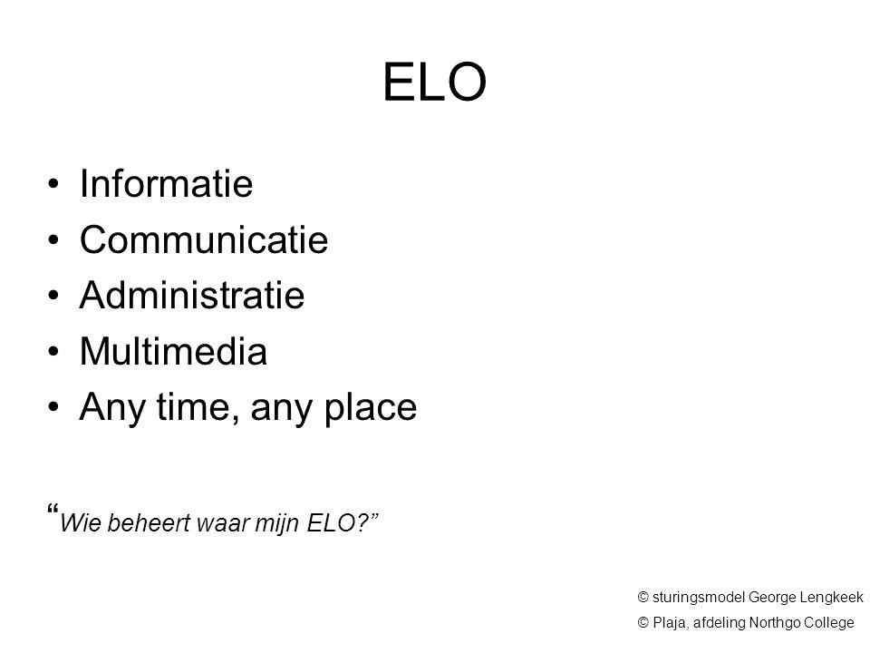 "© sturingsmodel George Lengkeek © Plaja, afdeling Northgo College ELO Informatie Communicatie Administratie Multimedia Any time, any place "" Wie behee"