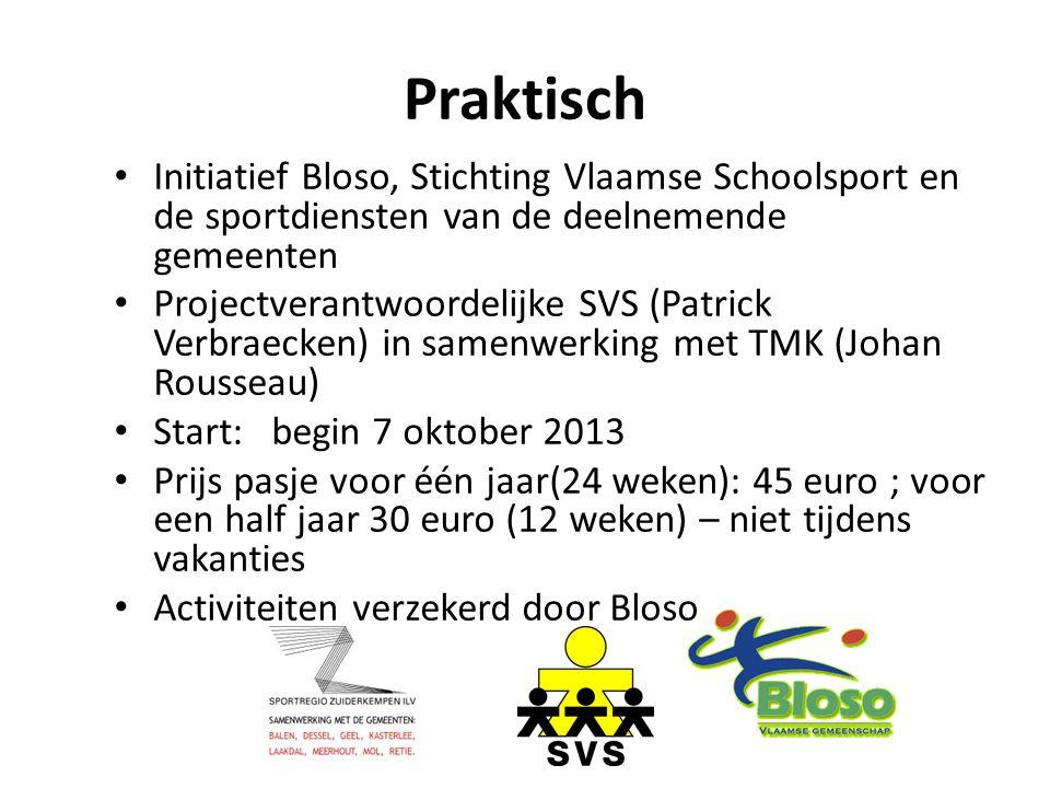 Praktisch Initiatief Bloso, Stichting Vlaamse Schoolsport en de sportdiensten van de deelnemende gemeenten Projectverantwoordelijke SVS (Patrick Verbr