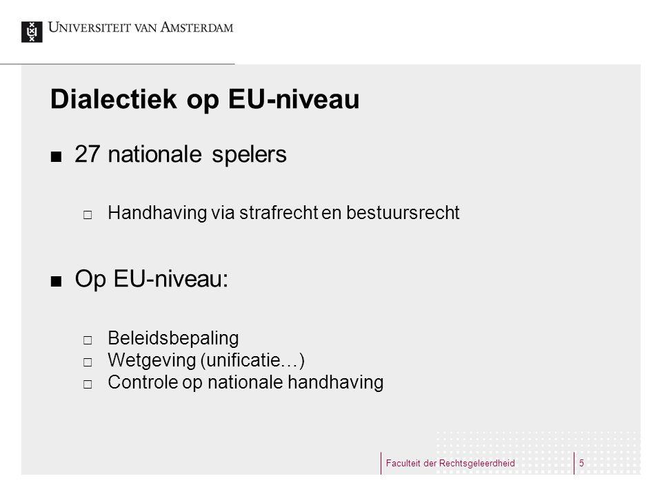 Dialectiek op EU-niveau 27 nationale spelers  Handhaving via strafrecht en bestuursrecht Op EU-niveau:  Beleidsbepaling  Wetgeving (unificatie…)  Controle op nationale handhaving Faculteit der Rechtsgeleerdheid5