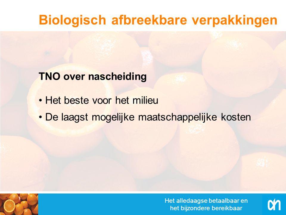 Het alledaagse betaalbaar en het bijzondere bereikbaar Het beste voor het milieu De laagst mogelijke maatschappelijke kosten TNO over nascheiding Biologisch afbreekbare verpakkingen