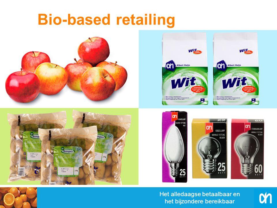 Het alledaagse betaalbaar en het bijzondere bereikbaar Alle ongekoelde biologische groente- en fruitproducten in biologisch afbreekbare verpakkingen Biologisch afbreekbare verpakkingen