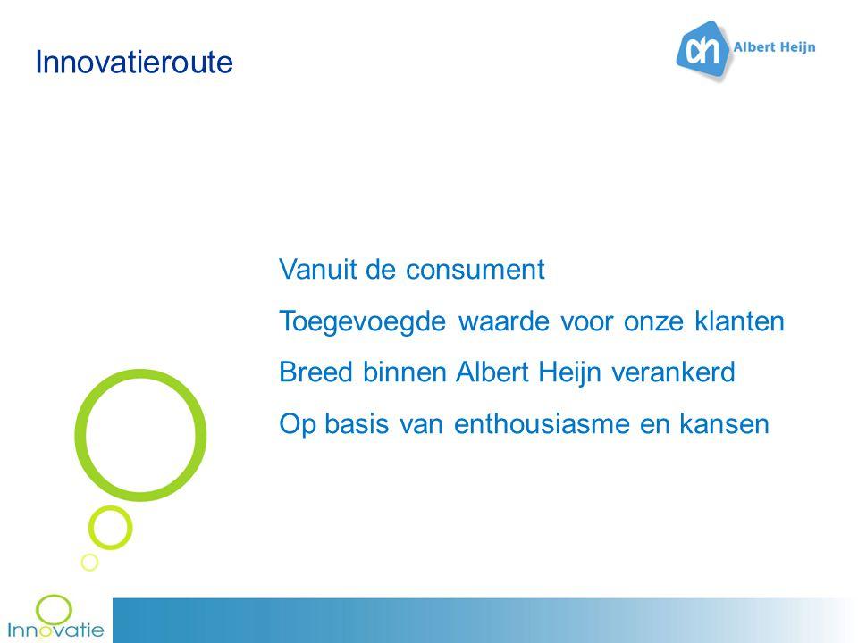 Innovatieroute Vanuit de consument Toegevoegde waarde voor onze klanten Breed binnen Albert Heijn verankerd Op basis van enthousiasme en kansen