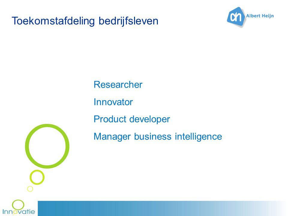 Toekomstafdeling bedrijfsleven Researcher Innovator Product developer Manager business intelligence