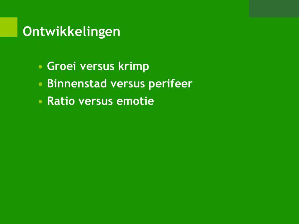 Ontwikkelingen Groei versus krimp Binnenstad versus perifeer Ratio versus emotie