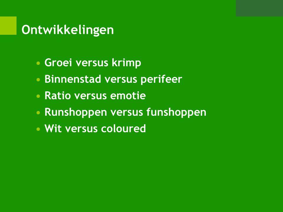 Ontwikkelingen Groei versus krimp Binnenstad versus perifeer Ratio versus emotie Runshoppen versus funshoppen Wit versus coloured
