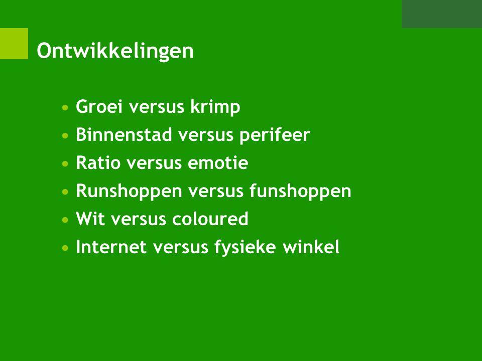 Ontwikkelingen Groei versus krimp Binnenstad versus perifeer Ratio versus emotie Runshoppen versus funshoppen Wit versus coloured Internet versus fysi