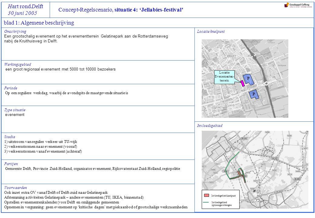 Concept-Regelscenario, situatie 4: 'Jellabies-festival' Hart rond Delft 30 juni 2005 Omschrijving Een grootschalig evenement op het evenementterrein G