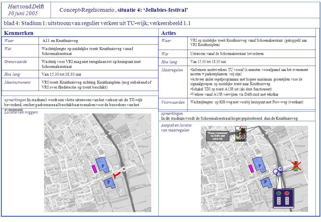 P P Concept-Regelscenario, situatie 4: 'Jellabies-festival' Hart rond Delft 30 juni 2005 blad 4: Stadium 1: uitstroom van regulier verkeer uit TU-wijk
