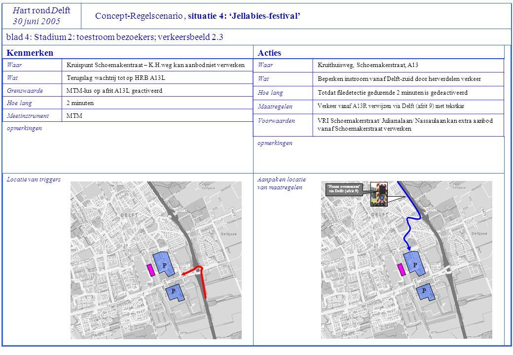 P P Concept-Regelscenario, situatie 4: 'Jellabies-festival' Hart rond Delft 30 juni 2005 blad 4: Stadium 2: toestroom bezoekers; verkeersbeeld 2.3 Loc
