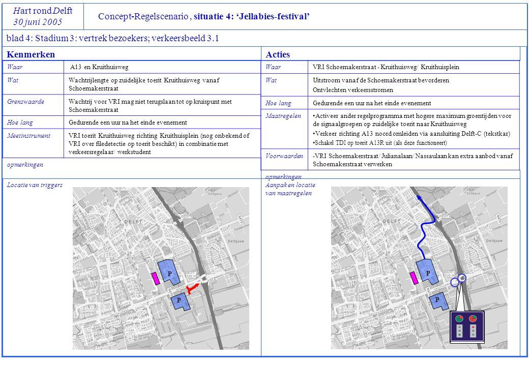 P P Concept-Regelscenario, situatie 4: 'Jellabies-festival' Hart rond Delft 30 juni 2005 blad 4: Stadium 3: vertrek bezoekers; verkeersbeeld 3.1 Locat