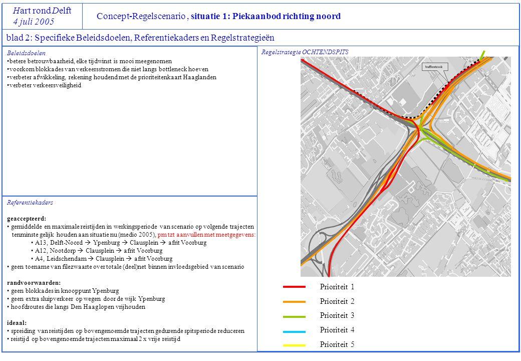 Concept-Regelscenario, situatie 1: Piekaanbod richting noord Hart rond Delft 4 juli 2005 blad 3: Overzicht verkeersbeelden en acties Verkeers -beeld ALSDANUITVOERBAARHEID 1.1file op afrit voorburgvri programma kruispunt Maanweg – afrit A12L - Ln vn nieuw Oosteinde omschakelen ten gunste van afrit 1.2file tot in weefvak Clausplein Voorburg inleidende snelheidslimieten van 70 km/h op alle toeleidende wegen 1.3 file in verbindingsweg A4L  A12L Rijstrook 2 A12L afkruisen tussen km 7.0 en 5.8 en opzwaaien vanaf A4L 1.4file A12L uit Z'meer voorbij km 7.0geen maatregelen 1.5aIntensiteit A4R km 45,750g > 2400 mvt/h én spitsstrook deeltraject A12 is open Spitsstrook deeltraject A4 (van km 44,0 naar km 46,3 ) open 1.5b file op parallelbaan A4R tussen Leidschendam en Clausplein Rerouten van verkeer uit de richting Leiden via de aansluiting Leidschendam en N14 met bestaande DRIP 1.6file of hoge intensiteit op A13L uit Delft rond km 4.0 Afkruisen rijstrook 2 (rechts) voor verkeer vanaf de A4L naar A12R; Toezicht door KLPD en IM+-ers 1.7 file A13L uit Delft rond km 6.0 geen maatregelen...