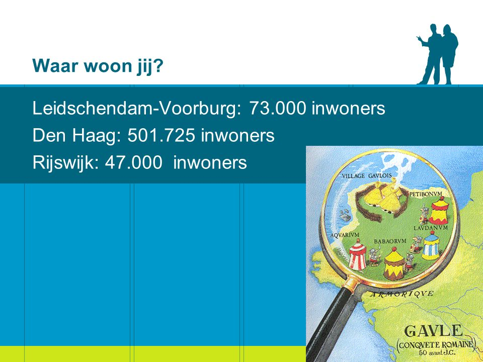 Waar woon jij? Leidschendam-Voorburg: 73.000 inwoners Den Haag: 501.725 inwoners Rijswijk: 47.000 inwoners