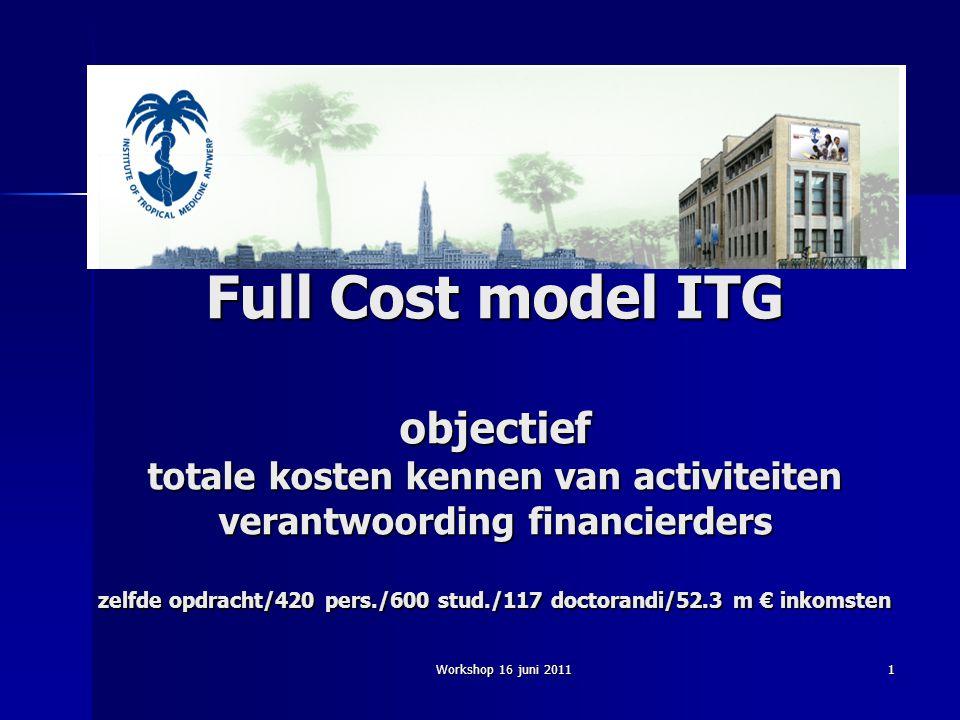 Workshop 16 juni 20111 Full Cost model ITG objectief totale kosten kennen van activiteiten verantwoording financierders zelfde opdracht/420 pers./600