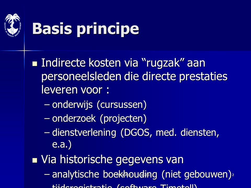 """Workshop 16 juni 20112 Basis principe Indirecte kosten via """"rugzak"""" aan personeelsleden die directe prestaties leveren voor : Indirecte kosten via """"ru"""