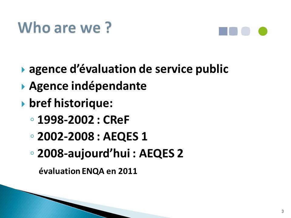  agence d'évaluation de service public  Agence indépendante  bref historique: ◦ 1998-2002 : CReF ◦ 2002-2008 : AEQES 1 ◦ 2008-aujourd'hui : AEQES 2 évaluation ENQA en 2011 3