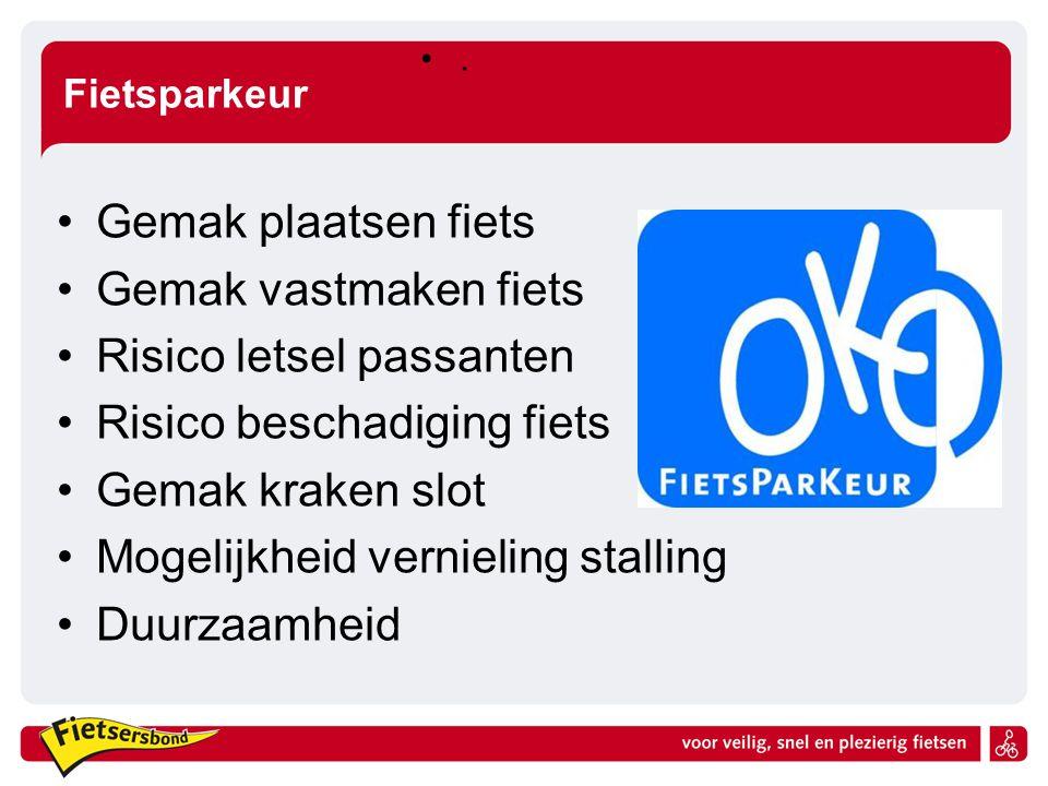 Fietsparkeur. Gemak plaatsen fiets Gemak vastmaken fiets Risico letsel passanten Risico beschadiging fiets Gemak kraken slot Mogelijkheid vernieling s