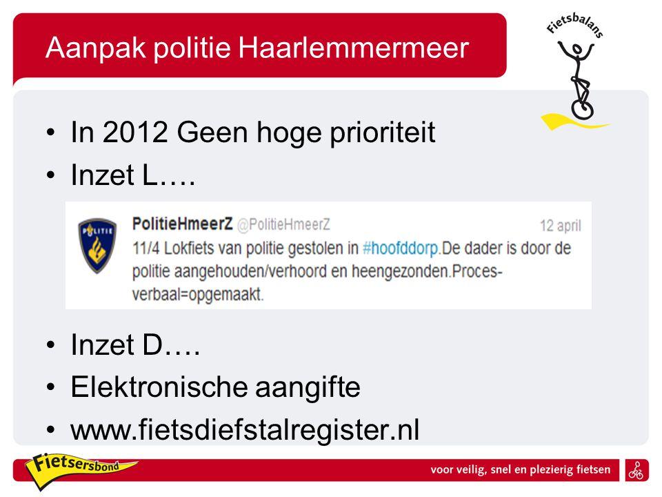 Aanpak gemeente Geen hoge prioriteit Lijkt voldaan Opruimen weesfietsen Zijn voldoende stallings mogelijkheden Aanbind mogelijkheden AFAC Haarlemmermeer
