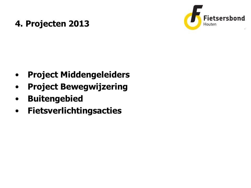 4. Projecten 2013 Project Middengeleiders Project Bewegwijzering Buitengebied Fietsverlichtingsacties