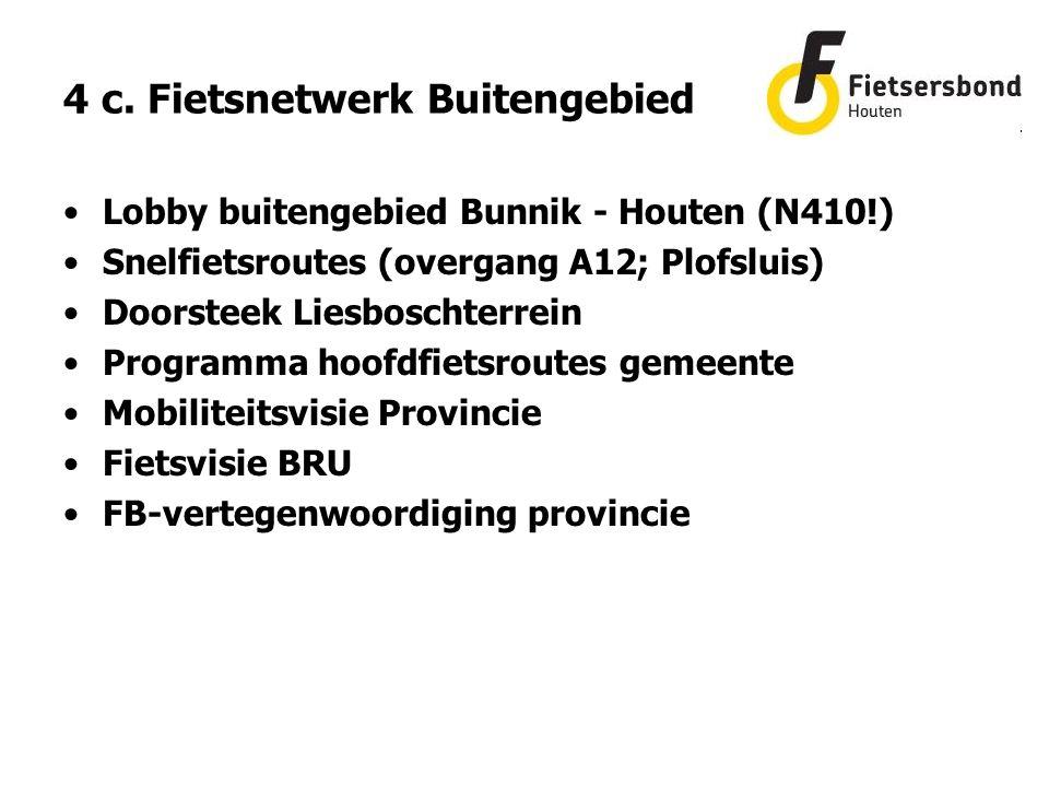 Lobby buitengebied Bunnik - Houten (N410!) Snelfietsroutes (overgang A12; Plofsluis) Doorsteek Liesboschterrein Programma hoofdfietsroutes gemeente Mobiliteitsvisie Provincie Fietsvisie BRU FB-vertegenwoordiging provincie 4 c.