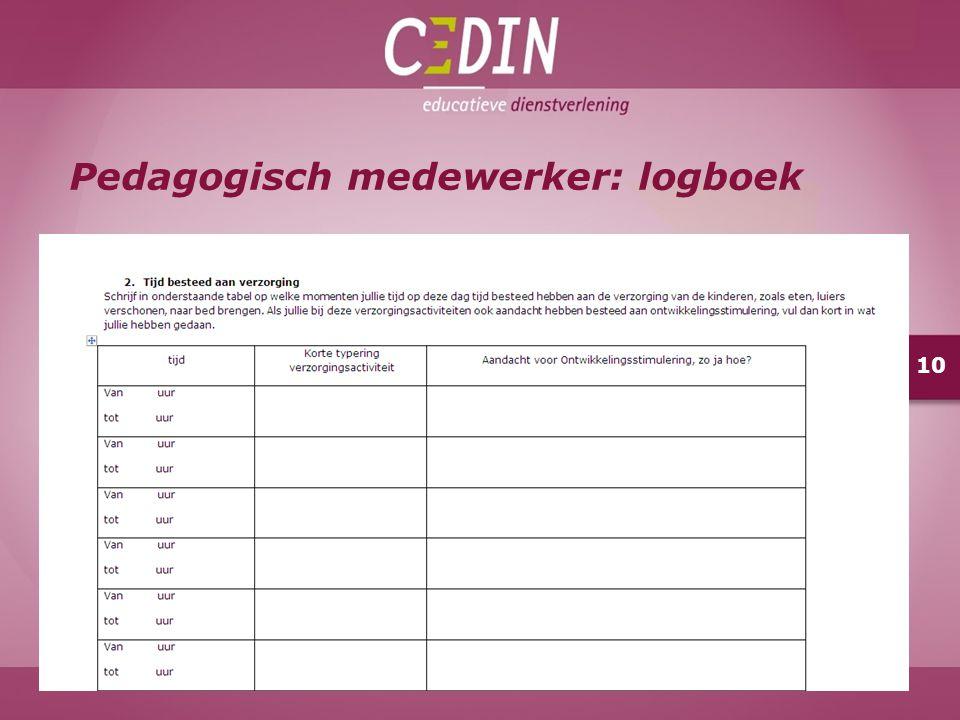 Pedagogisch medewerker: logboek 10
