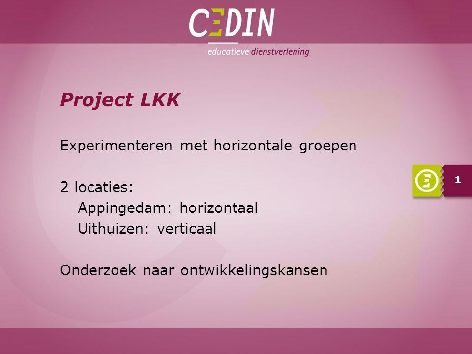 Project LKK Experimenteren met horizontale groepen 2 locaties: Appingedam: horizontaal Uithuizen: verticaal Onderzoek naar ontwikkelingskansen 1